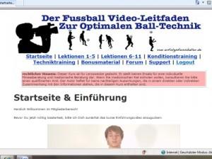 """""""Perfekte Fussballtechnik"""" Online-Kurs von Max Beckert (erfolgsfussballer.de). Einstiegsseite mit Einführungs-Video"""