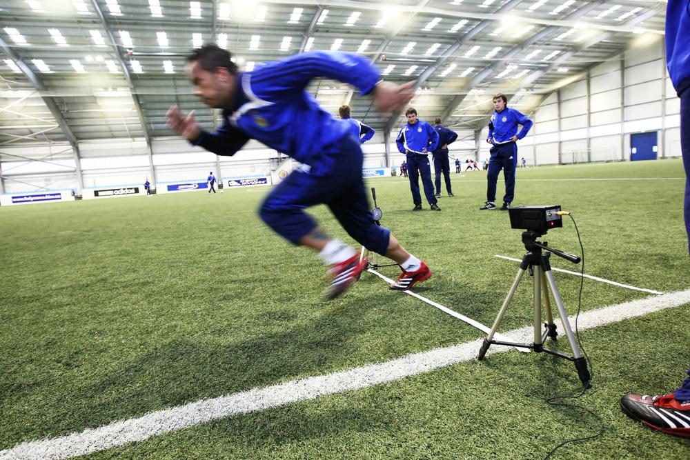 Fussballtraining Reaktion Schnelligkeit Foto